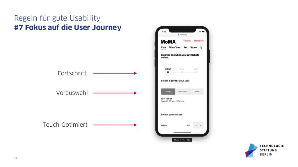 Mobiltelefon mit hierarchischem Websiteaufbau entlang der User Journey für bessere Usability bzw. Nutzbarkeit