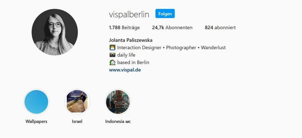 Instagram Profil von Jolanta Paliszewska
