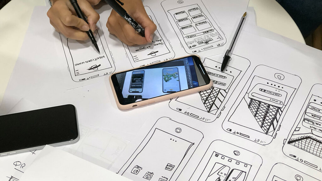 Symbolbild Förderprojekte 2021 Entwurfszeichnungen für mobile Anwendungen