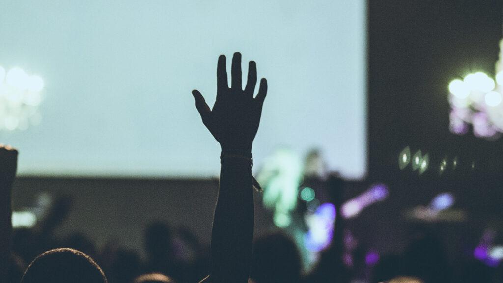Symbolbild barrierefreie Kultur - Person hebt hand auf Konzert