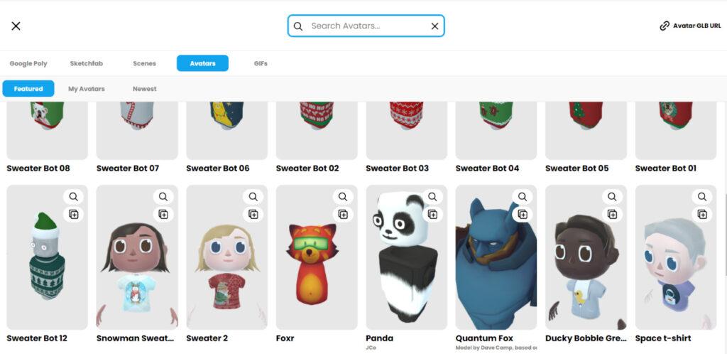 Avatar-Auswahl in Mozilla Hubs mit unterschiedlich gestalteten Avataren