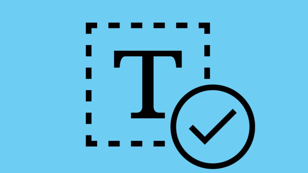 Icon mit Text-Symbol und Haken, der Korrektur verdeutlicht
