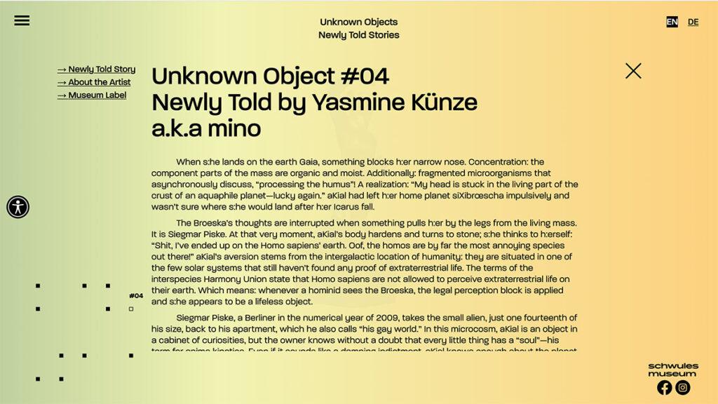 Online-Ausstellung des Schwulen Museums mit Objektbeschreibung