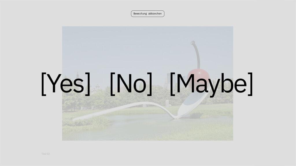 Screenshot zum Juryverfahren in der App Yes No Maybe