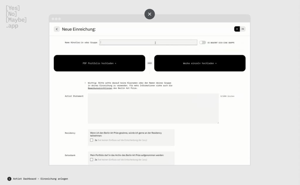 Screenshot YesNoMaybe-App: Eingabemaske zur Verwaltung von Einreichungen